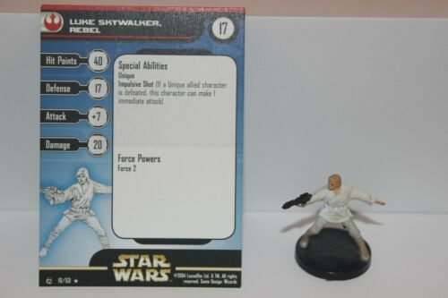 Star Wars Miniatures LUKE SKYWALKER REBEL #10 Rebel Storm w/ Card mini Legion