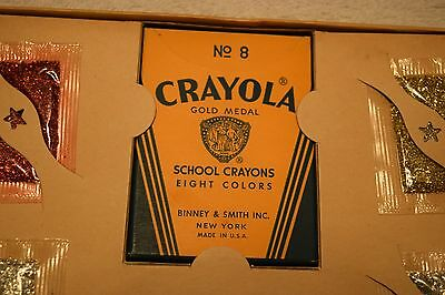 Vintage Glitter Art Pictures Set,Crayola Crayons No8 Glitter Products Co, - Crayola Products