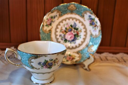 Royal Albert Bone China LADY ASCOT Footed Teacup and Saucer