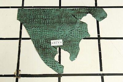 WOW! Fresh Thyme Green CROC Print Scrap Leather Hide Approx. 2.25 sqft. K48J4-8 ()