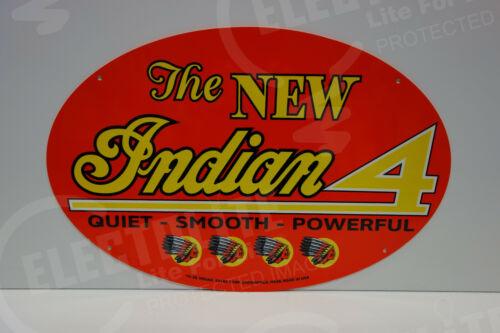 NOS INDIAN MOTORCYCLE DEALER INDIAN 4 DIE CUT Rare ENAMEL OVULAR SIGN LARGE!