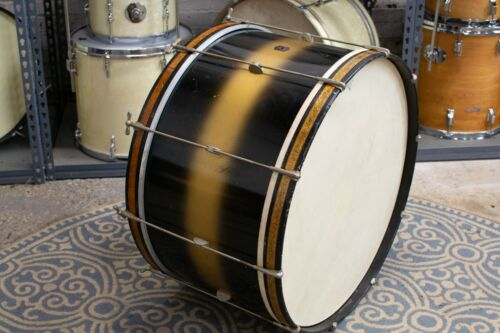 """1940s Leedy 14x26 Black & Gold Duco """"Spartan"""" Bass Drum"""