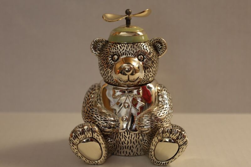 Reed & Barton Silver Plate Teddy Bear Piggy Bank  With Propeller Hat