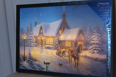 Christmas Large 3D Lenticular Snow Scene Light Up Horse & Cart Changing Picture ()