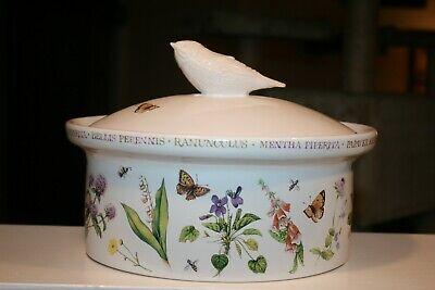 Marjolein Bastin CASSEROLE DISH Oval 2 Qt WILDFLOWER MEADOW Lid With BIRD HANDLE