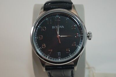 BULOVA Men's Classic Collection Black Dial & Leather Strap Watch 40mm - 96B233