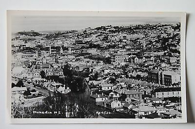 Dunedin New Zealand Aerial View of City Unused Real Photo Postcard RPPC Vintage