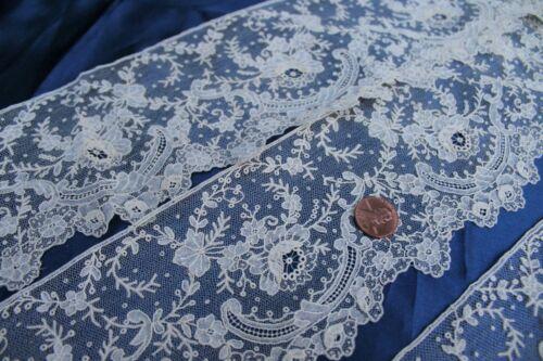 Vtg Antique Lace Belgian Brussels Point de Gaze Rose Needlelace Handmade Excel