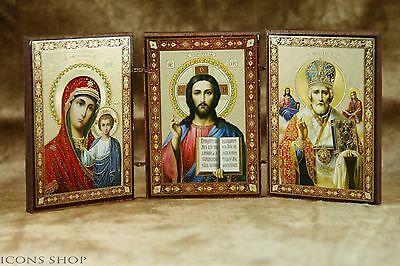 Triptych Orthodox Church Icon Wonderworker St Nicholas Holly Marry Jesus Chris