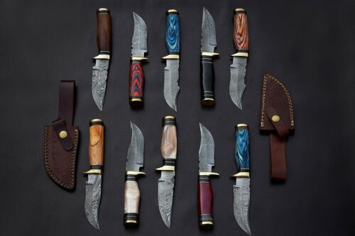 10 pieces Damascus steel skinning knives lot with Sheath, Damascus knife deal