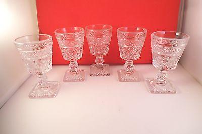 Vintage Imperial Clear Glass Cape Cod Set of 5 Liquor Cocktail Wine Glasses