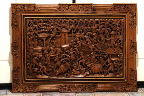 "Antique Thai Hand Carved Wood Panel & Frame Masterful Craftsmanship 44"" X 32"""