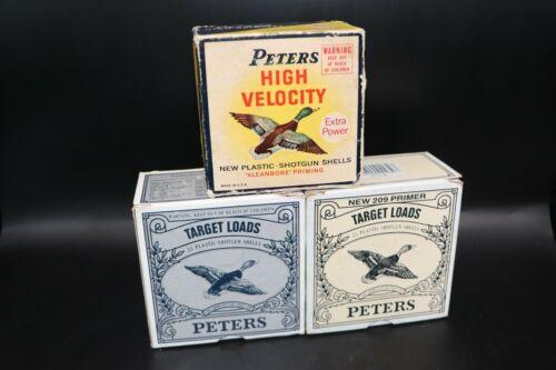 Lot of 3 Peters 12 & 16 Gauge Empty Shotshell Boxes