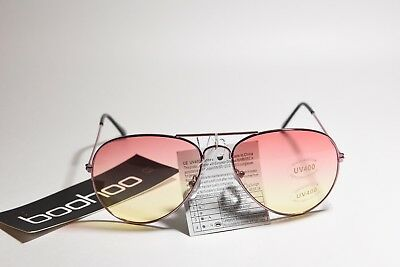 BOOHOO LEXI PINK OMBRE LENS AVIATOR FASHION SUNGLASSES GOLD FRAME ONE SIZE NEW