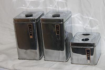 Vintage Stainless Steel Kitchen Canister Set Flour Sugar Tea Lincoln BeautywareG