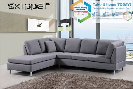 Brand New Fabric/Leather  Cornor Chaise Reversible Sofas