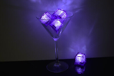 Led Icecubes (Set of 4 LiteCubes Jewel Color Tinted Amethyst Purple Light up LED Ice)