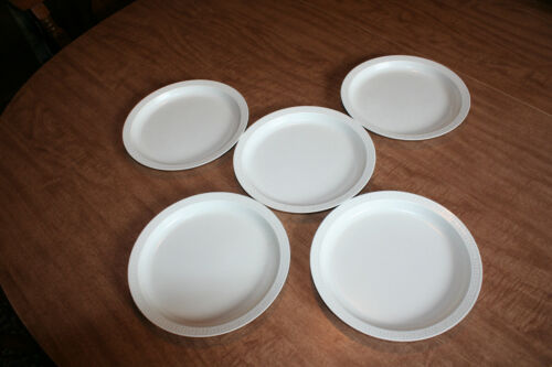 Lot of 5 Vintage Armour Reusable Microwave Plates Rimmed Almond See Pix!!