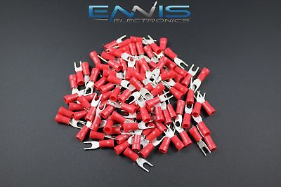 18-22 Gauge Vinyl Spade 6 Connector 50 Pk Red Crimp Terminal Awg Ga Car Suv