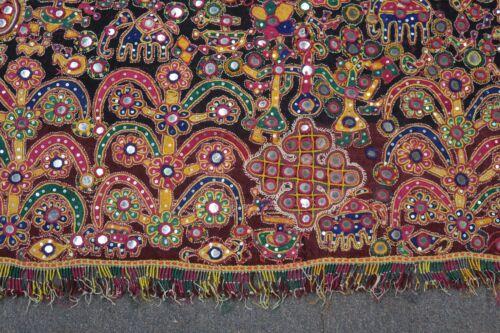 "Vintage Nomadic Rabari Embroidery Head Cover Textile Rajasthan India 44"" x 74"""