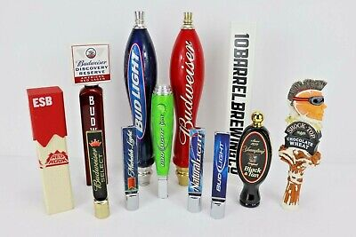 Lot of 12 Tap Handles Short and Tall some Vintage Budweiser
