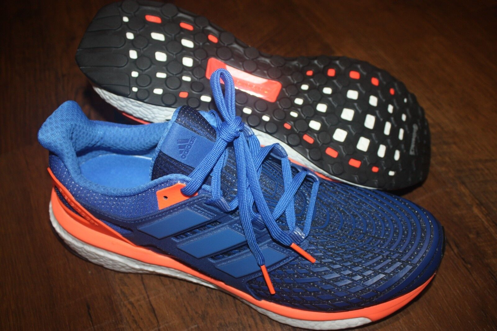 New In Box Men's Adidas Energy Boost Running Shoes Blue/Orange BB3453 SHIP FREE