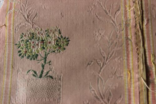 Antique French 18thC (1760-1790) Peach Botanical Brocaded Silk Fabric~Collectors