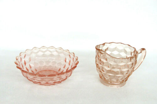 Jeannette Cube Style Pink Depression Glass Creamer and Small Bowl 1338B