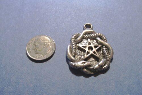 Dozen  Pewter Pentagram Pentacle Wiccan  With Snakes  Pendants
