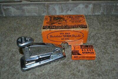 Vintage Ace Scout Stapling Machine 202 W Original Box Empty Staple Box Vgc