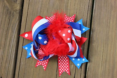 Red, White, And Blue Hair Bow. American Flag - Red White And Blue Hair Bows