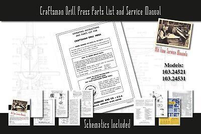 Craftsman Drill Press 103.24521 103.24531 Service Manual Parts List Schematics