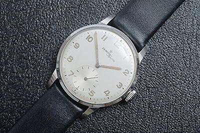 1940s NEW OLD STOCK ZENITH STAINLESS STEEL MILITARY DIAL CALATRAVA WATCH