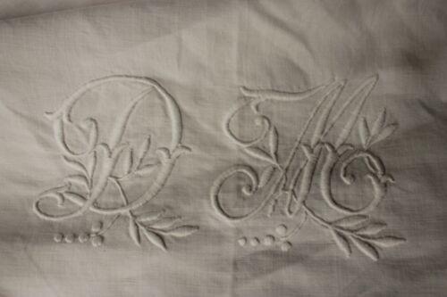 Vintage French linen sheet trousseau DM monogram 89 X 132 LARGE