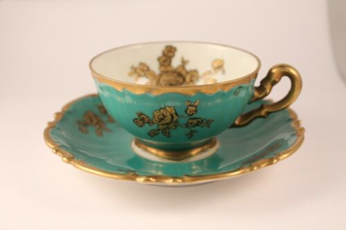Vintage Echt Tuppack Porcelain Gold Roses Turquoise Cup & Saucer