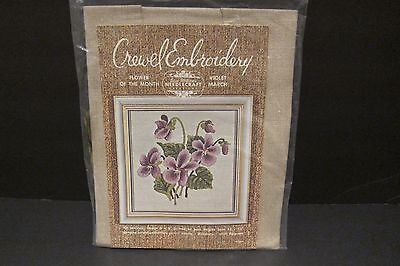Elsa Williams Crewel Embroidery Kit Flower of the Month March Violets Linen