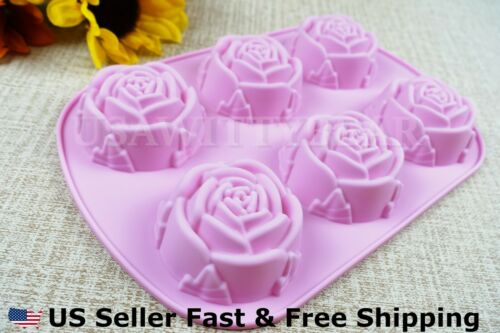 DIY 6 Cavity Rose Shaped Silicone Handmade Soap Mold for Soap Making US Seller