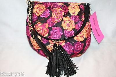 NWT! NEW! BETSEY JOHNSON Pink WATER COLOR ROSES Flap Tassel Crossbody Bag