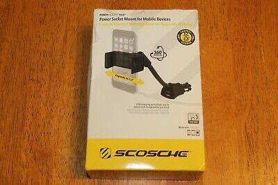 NEW Scosche Universal Power Socket Flex Neck Mount w/ USB Charging Port H12VXFM Usb Flex Neck