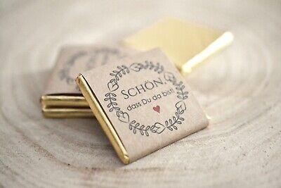 20 x Gastgeschenke vintage boho - Schokolade quadratisch zur Hochzeit gold ()