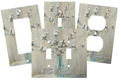PERSONALIZED COTTON FLORAL GRAY BLUE VASE ELEGANT SWITCH PLATE COVER DECOR  - Personalized Vase