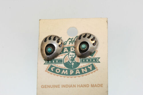 BEAR PAW SHADOWBOX HANDCRAFTED 925 STERLING EARRINGS GREEN TURQUOISE CAB 1.9g