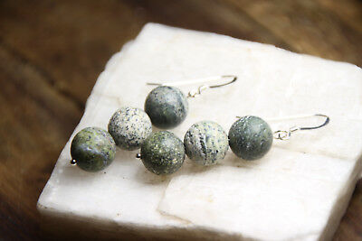 Gray Gemstone Earrings - Zebrastone 10mm Round Ball Gray Gemstone Earrings .925 Sterling Silver Grey