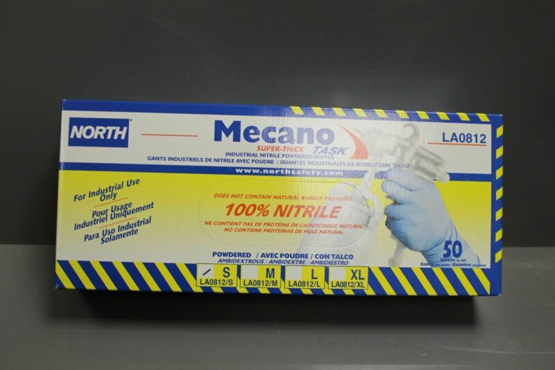 Box of North Mecano Task Super-Thick Industrial Nitrile Powered Gloves LA0812/S