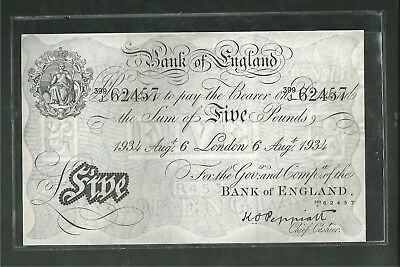 Great Britain Bank Of England Five Pounds Cu London 1934