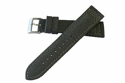 18mm Men's Grey Vintage 40's 50's 60's Canvas Watch Band Strap MS850 Hadley Roma