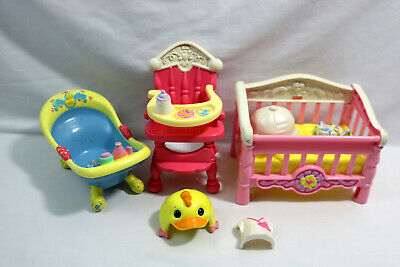 Fisher Price Snap N Style Baby Furniture Lot-High Chair-Crib-Tub-Access.-ID#0510