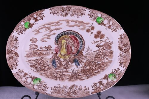 "Vintage18 ""  Turkey Platter Japan Thanksgiving Ironstone Brown Colored Fruit"