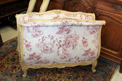 Antique  French Painted & New Upholstered  Louis XV Day Bed & Rails 1880