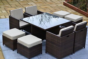 Outdoor Rattan Weave 4 / 8 SEAT CUBE SET Garden Patio Furniture Set Conservatory
